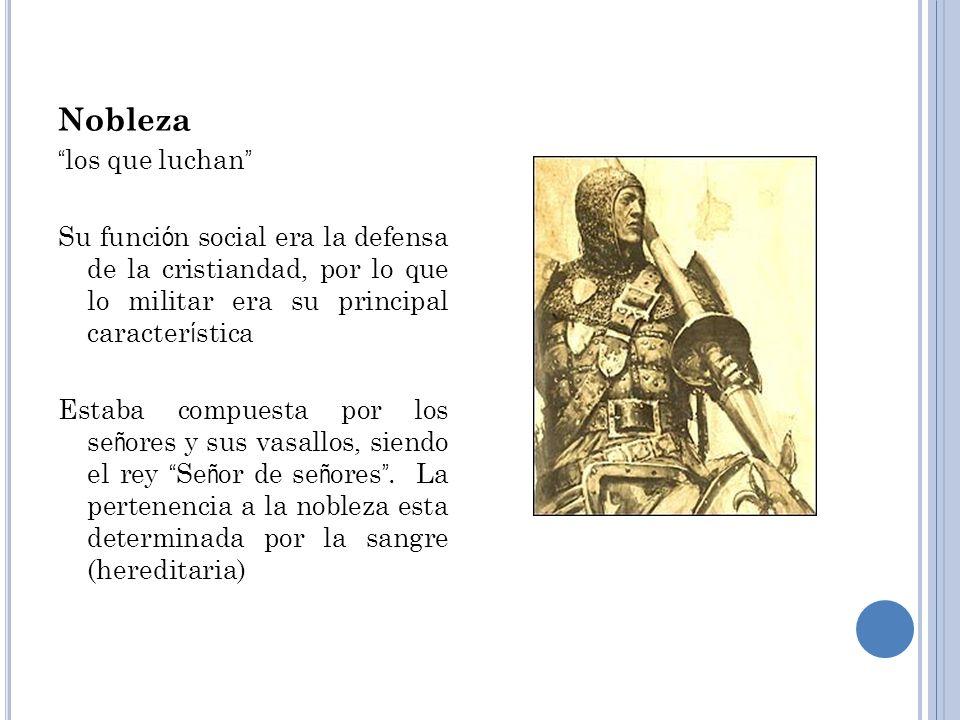 EstamentoDenominaci ó n Funci ó nComposici ó n Nobleza los que luchan Su funci ó n social era la defensa de la cristiandad, por lo que lo militar era