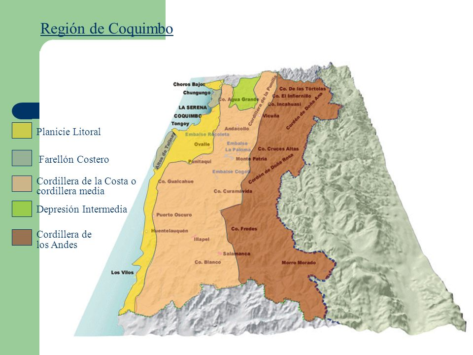 Región de Coquimbo Planicie Litoral Cordillera de la Costa o cordillera media Depresión Intermedia Cordillera de los Andes Farellón Costero
