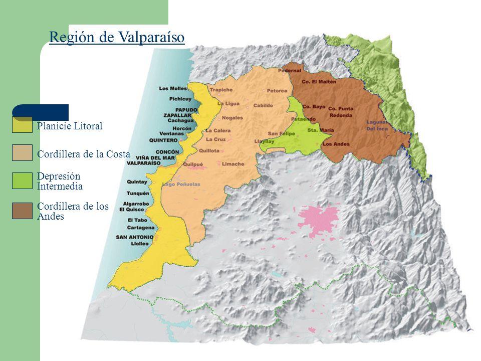 Región de Valparaíso Planicie Litoral Depresión Intermedia Cordillera de los Andes Cordillera de la Costa
