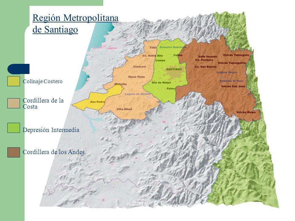 Región Metropolitana de Santiago Colinaje Costero Cordillera de la Costa Depresión Intermedia Cordillera de los Andes