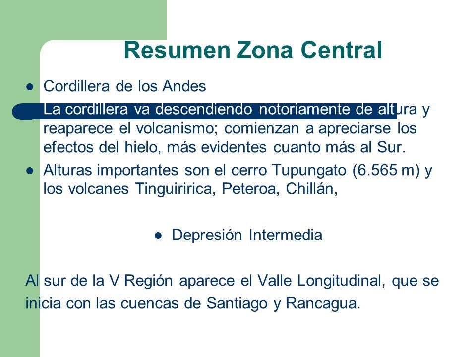 Resumen Zona Central Cordillera de los Andes La cordillera va descendiendo notoriamente de altura y reaparece el volcanismo; comienzan a apreciarse los efectos del hielo, más evidentes cuanto más al Sur.