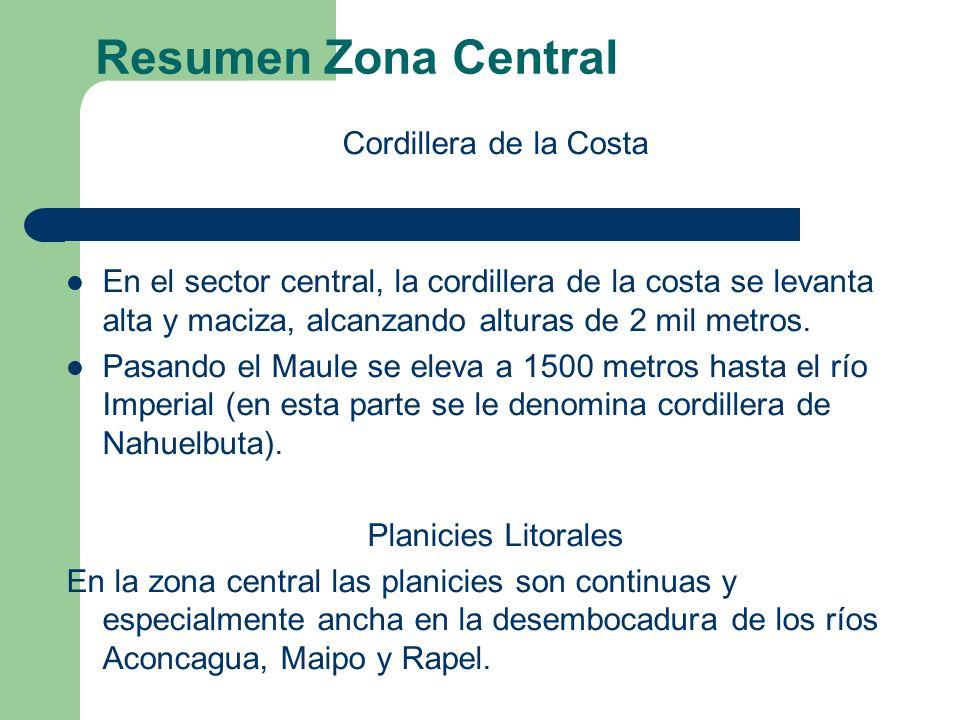 Resumen Zona Central Cordillera de la Costa En el sector central, la cordillera de la costa se levanta alta y maciza, alcanzando alturas de 2 mil metros.