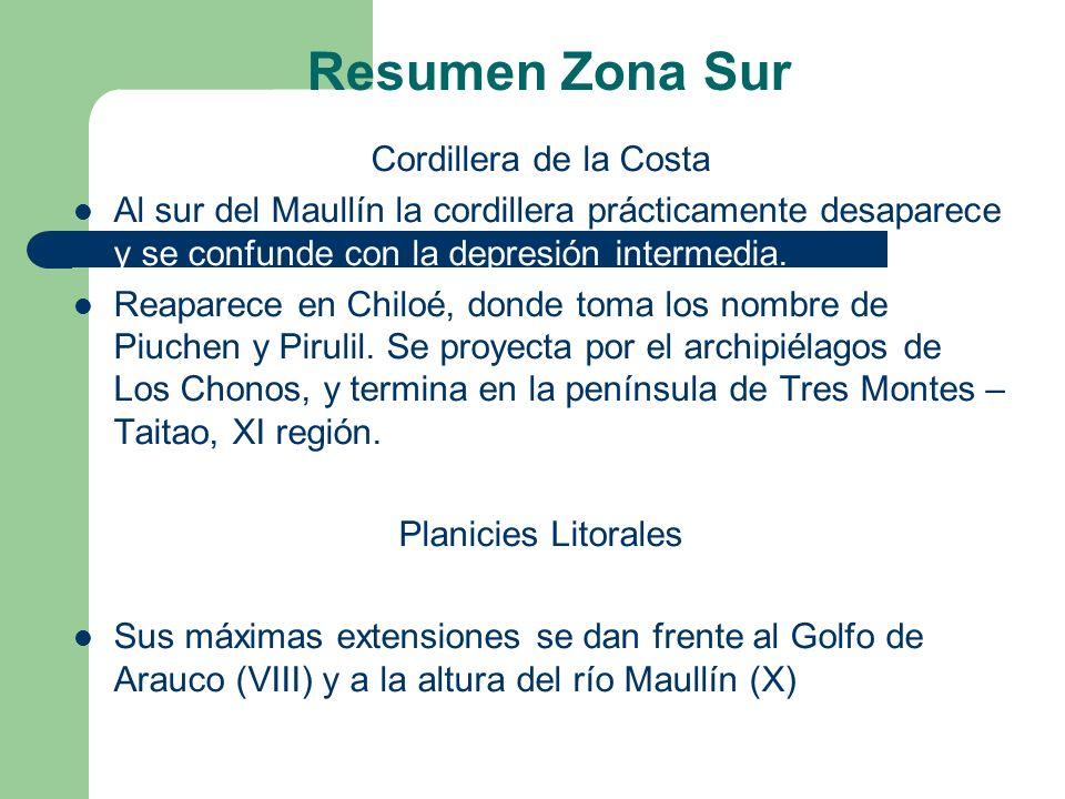 Resumen Zona Sur Cordillera de la Costa Al sur del Maullín la cordillera prácticamente desaparece y se confunde con la depresión intermedia.