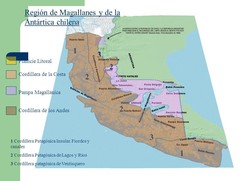 Región de Magallanes y de la Antártica chilena Planicie Litoral Cordillera de la Costa Pampa Magallánica Cordillera de los Andes 1 2 3 2 2 3 1 1 Cordillera Patagónica Insular.