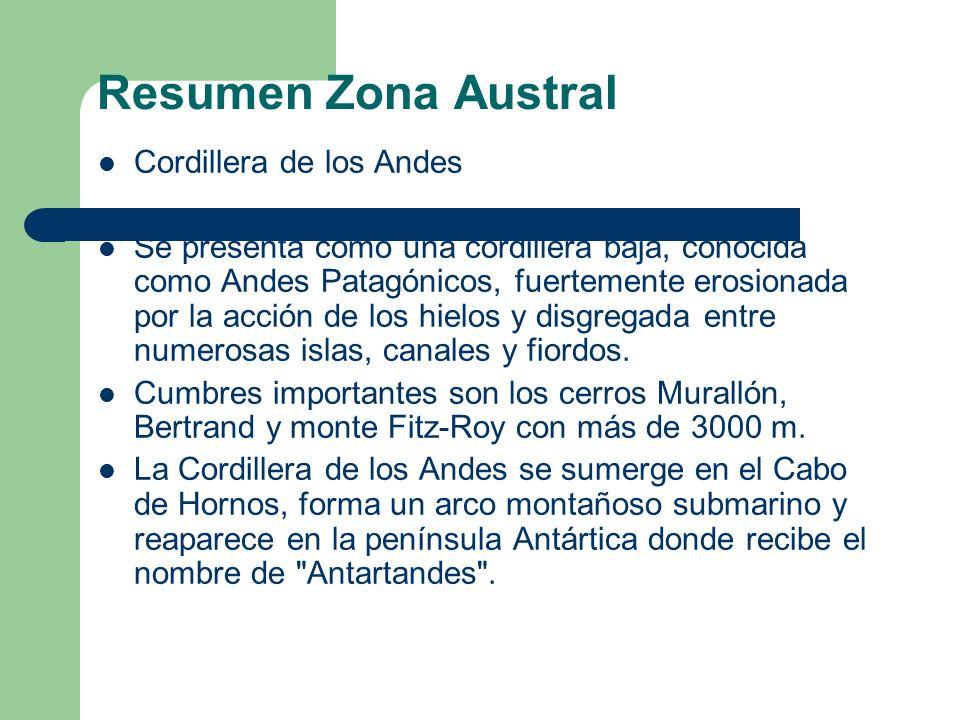 Resumen Zona Austral Cordillera de los Andes Se presenta como una cordillera baja, conocida como Andes Patagónicos, fuertemente erosionada por la acción de los hielos y disgregada entre numerosas islas, canales y fiordos.