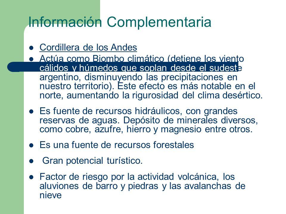 Información Complementaria Cordillera de los Andes Actúa como Biombo climático (detiene los vientos cálidos y húmedos que soplan desde el sudeste argentino, disminuyendo las precipitaciones en nuestro territorio).