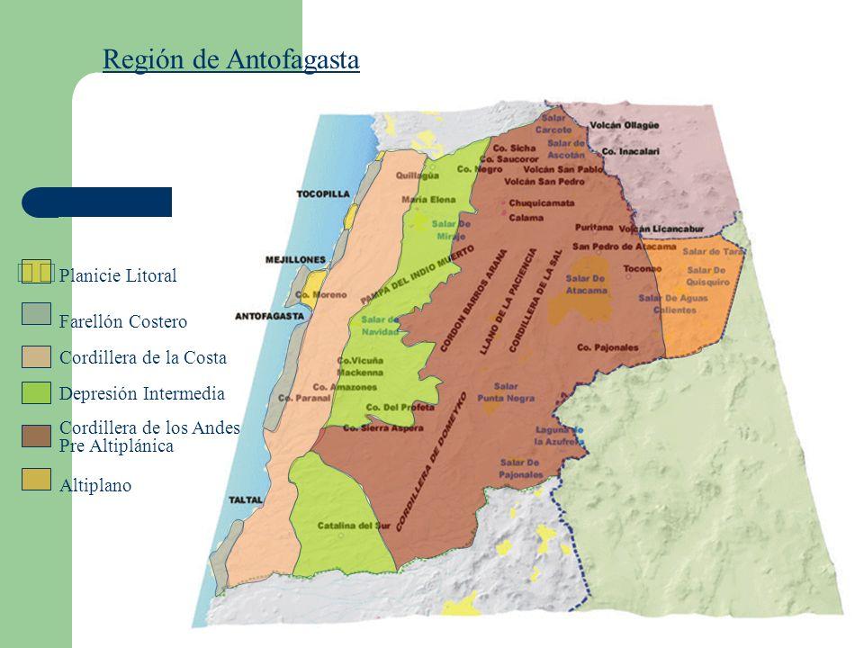 Región de Antofagasta Farellón Costero Cordillera de la Costa Depresión Intermedia Cordillera de los Andes Pre Altiplánica Altiplano Planicie Litoral