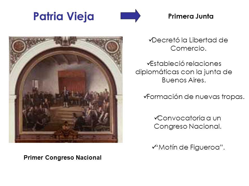 Patria Vieja Primera Junta Motín de Figueroa. Decretó la Libertad de Comercio. Estableció relaciones diplomáticas con la junta de Buenos Aires. Convoc