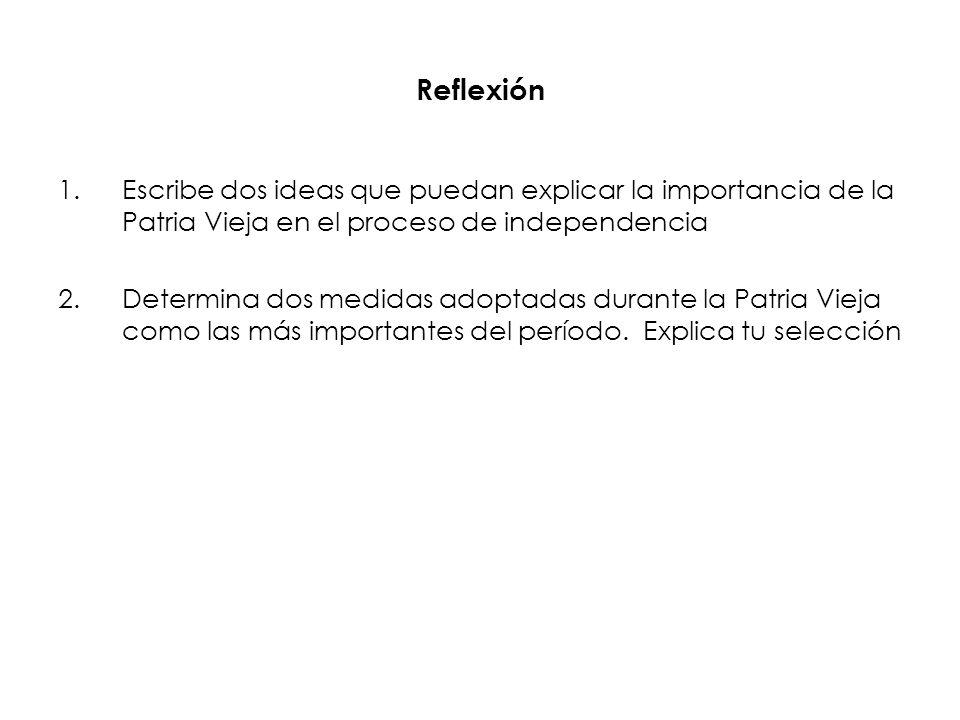 Reflexión 1.Escribe dos ideas que puedan explicar la importancia de la Patria Vieja en el proceso de independencia 2.Determina dos medidas adoptadas d