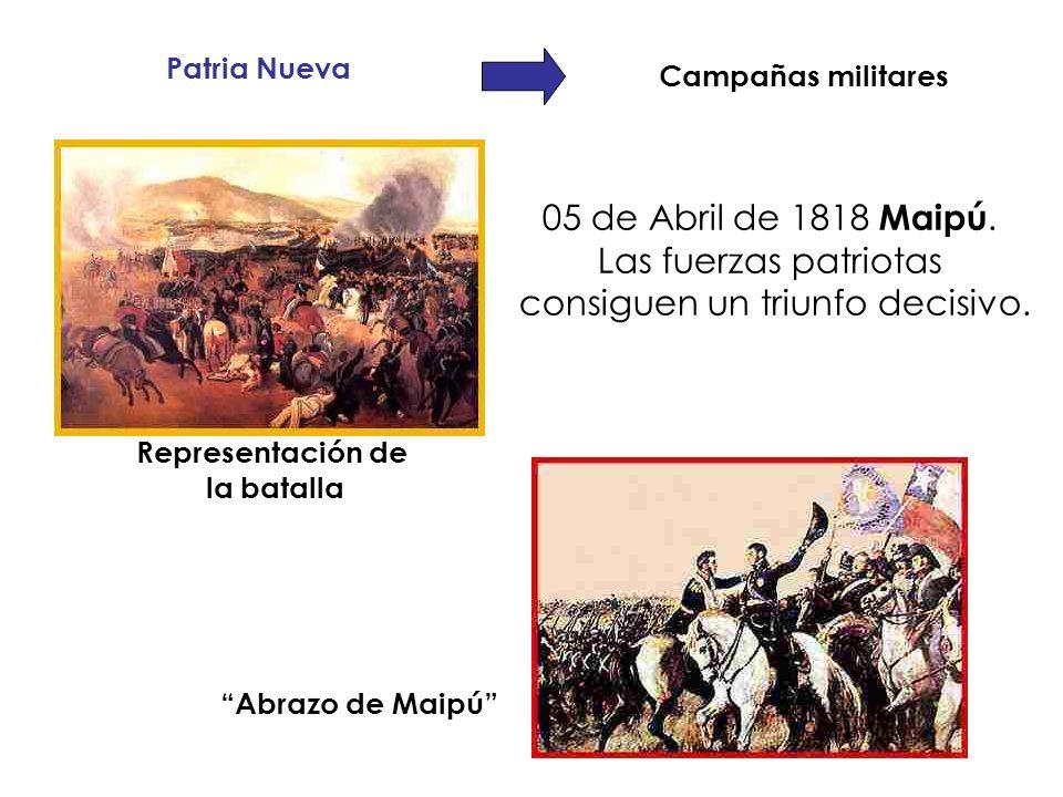 Patria Nueva Campañas militares 05 de Abril de 1818 Maipú. Las fuerzas patriotas consiguen un triunfo decisivo. Abrazo de Maipú Representación de la b