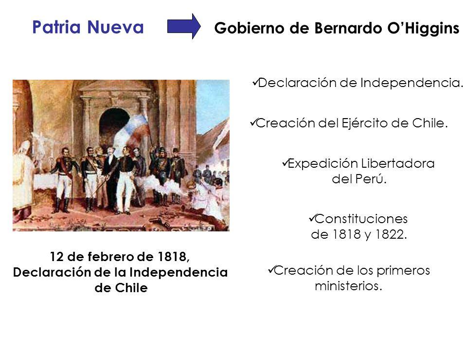 Patria Nueva Gobierno de Bernardo OHiggins Declaración de Independencia. Creación del Ejército de Chile. Expedición Libertadora del Perú. Constitucion