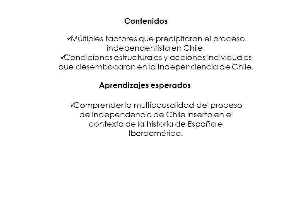 Contenidos Múltiples factores que precipitaron el proceso independentista en Chile. Condiciones estructurales y acciones individuales que desembocaron
