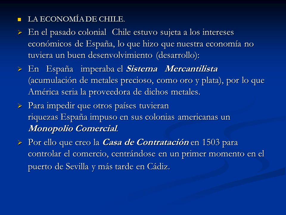 LA ECONOMÍA DE CHILE. LA ECONOMÍA DE CHILE. En el pasado colonial Chile estuvo sujeta a los intereses económicos de España, lo que hizo que nuestra ec
