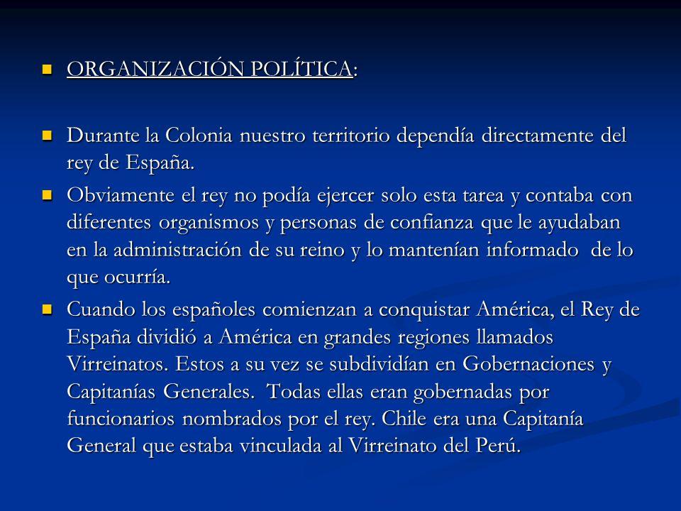 ORGANIZACIÓN POLÍTICA: ORGANIZACIÓN POLÍTICA: Durante la Colonia nuestro territorio dependía directamente del rey de España. Durante la Colonia nuestr