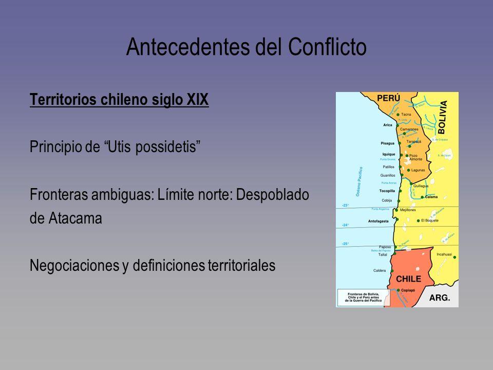 Antecedentes del Conflicto Territorios chileno siglo XIX Principio de Utis possidetis Fronteras ambiguas: Límite norte: Despoblado de Atacama Negociac
