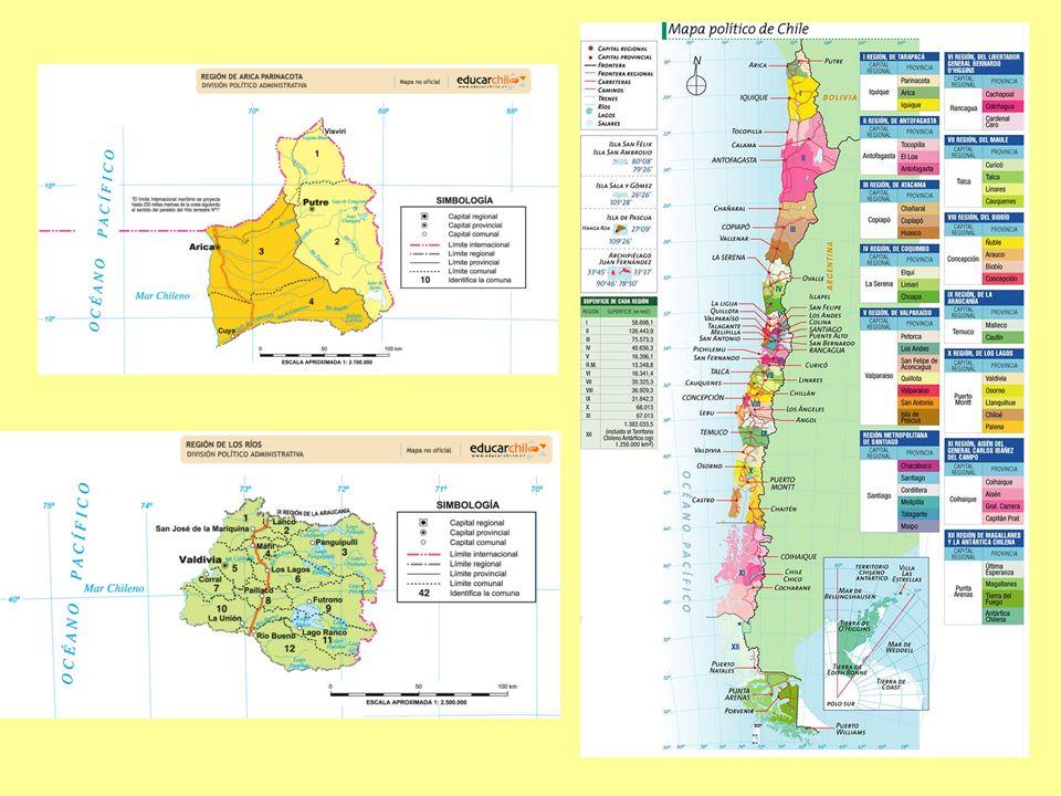 La conformación político-administrativa que tienen las 15 regiones de nuestro país. Estas regiones están divididas en provincias y cada provincia, en