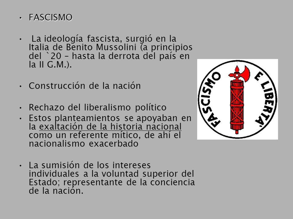 FASCISMOFASCISMO La ideología fascista, surgió en la Italia de Benito Mussolini (a principios del `20 – hasta la derrota del país en la II G.M.).