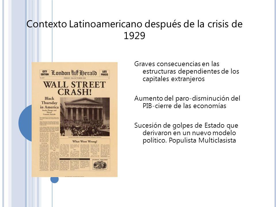 Contexto Latinoamericano después de la crisis de 1929 Graves consecuencias en las estructuras dependientes de los capitales extranjeros Aumento del pa