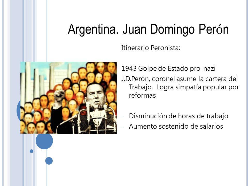 Argentina. Juan Domingo Per ó n Itinerario Peronista: 1943 Golpe de Estado pro-nazi J.D.Perón, coronel asume la cartera del Trabajo. Logra simpatía po