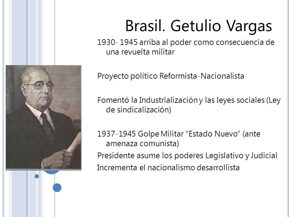Brasil. Getulio Vargas 1930- 1945 arriba al poder como consecuencia de una revuelta militar Proyecto político Reformista-Nacionalista Fomentó la Indus