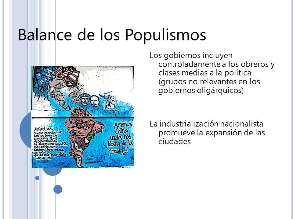 Balance de los Populismos Los gobiernos incluyen controladamente a los obreros y clases medias a la política (grupos no relevantes en los gobiernos ol