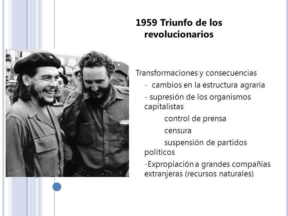 1959 Triunfo de los revolucionarios Transformaciones y consecuencias - cambios en la estructura agraria - supresión de los organismos capitalistas con