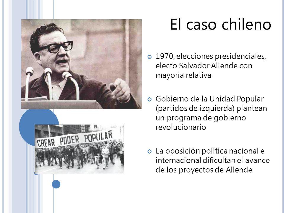 El caso chileno 1970, elecciones presidenciales, electo Salvador Allende con mayoría relativa Gobierno de la Unidad Popular (partidos de izquierda) pl