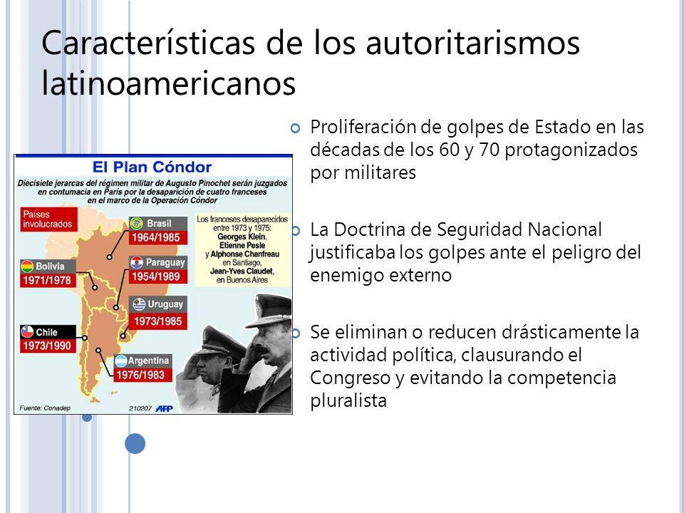 Características de los autoritarismos latinoamericanos Proliferación de golpes de Estado en las décadas de los 60 y 70 protagonizados por militares La