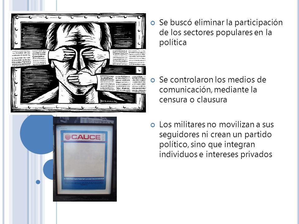 Se buscó eliminar la participación de los sectores populares en la política Se controlaron los medios de comunicación, mediante la censura o clausura