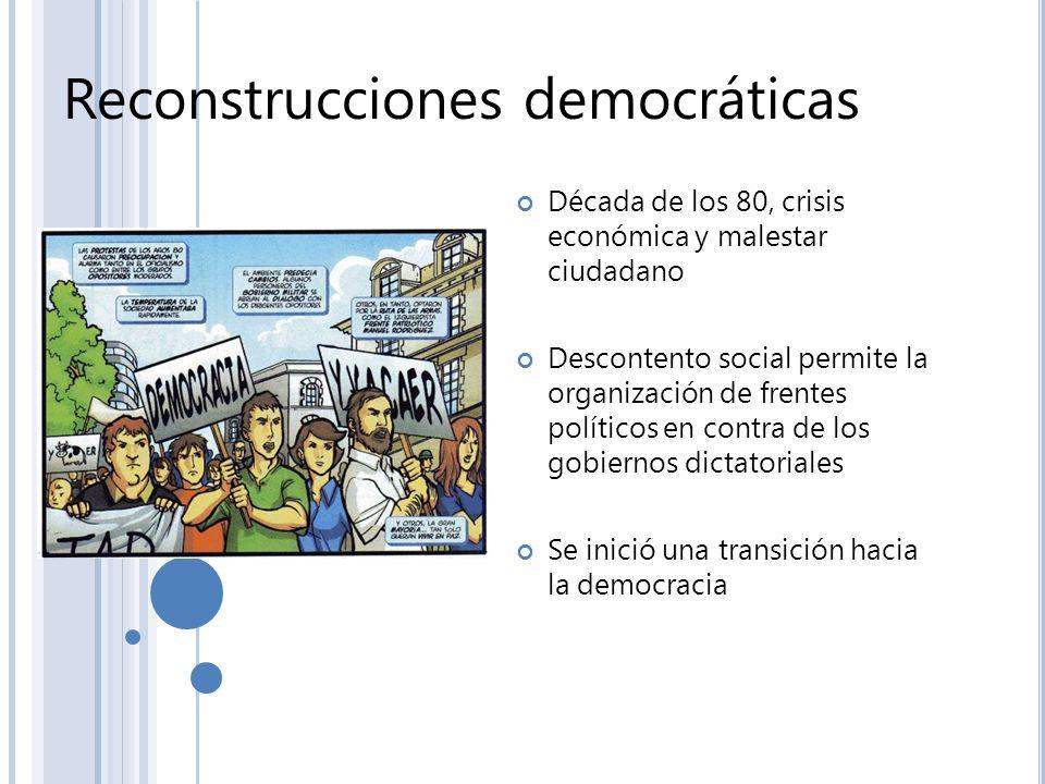Reconstrucciones democráticas Década de los 80, crisis económica y malestar ciudadano Descontento social permite la organización de frentes políticos