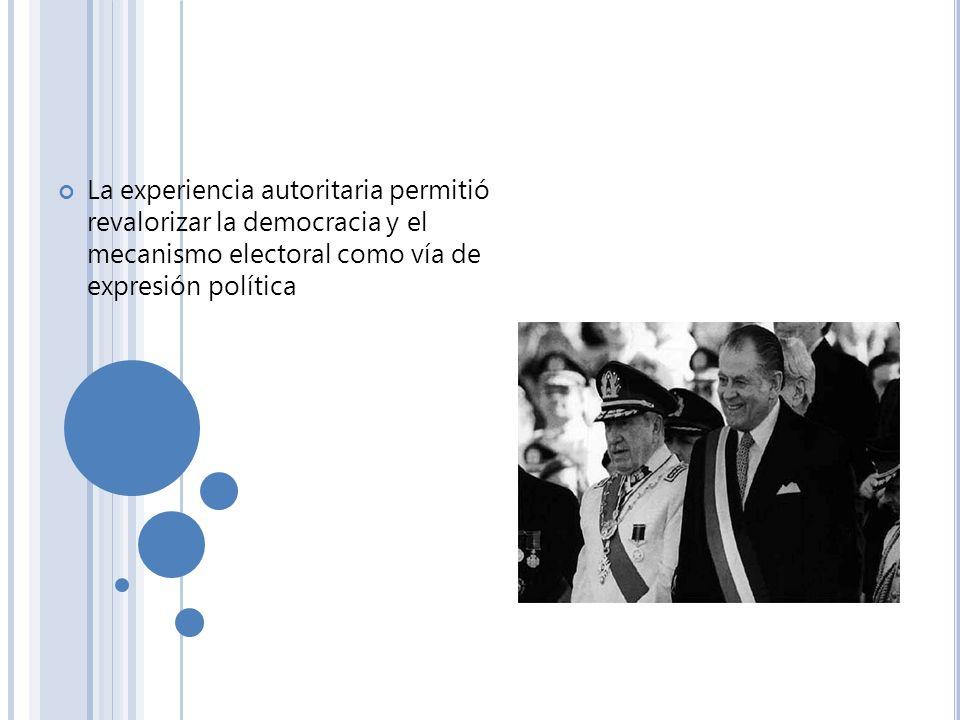 La experiencia autoritaria permitió revalorizar la democracia y el mecanismo electoral como vía de expresión política