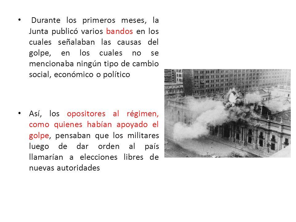 Durante los primeros meses, la Junta publicó varios bandos en los cuales señalaban las causas del golpe, en los cuales no se mencionaba ningún tipo de