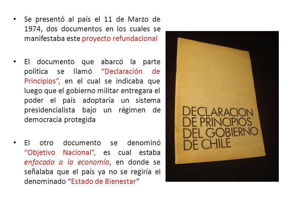 Se presentó al país el 11 de Marzo de 1974, dos documentos en los cuales se manifestaba este proyecto refundacional El documento que abarcó la parte p