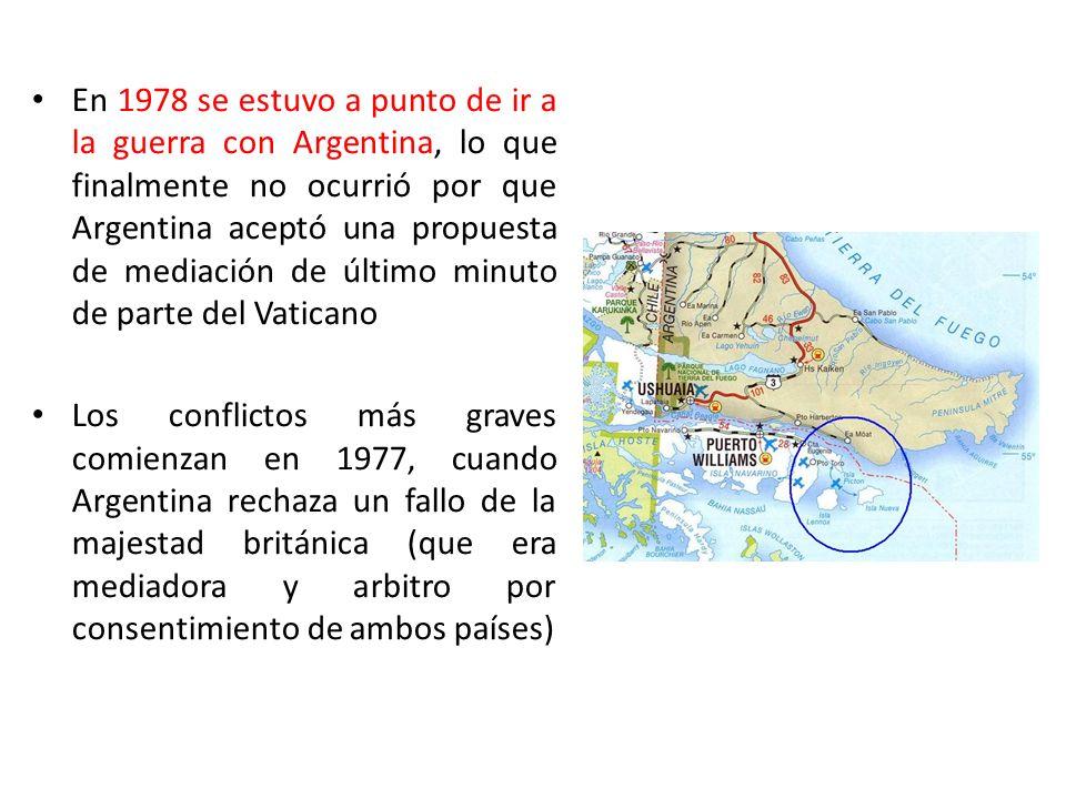En 1978 se estuvo a punto de ir a la guerra con Argentina, lo que finalmente no ocurrió por que Argentina aceptó una propuesta de mediación de último