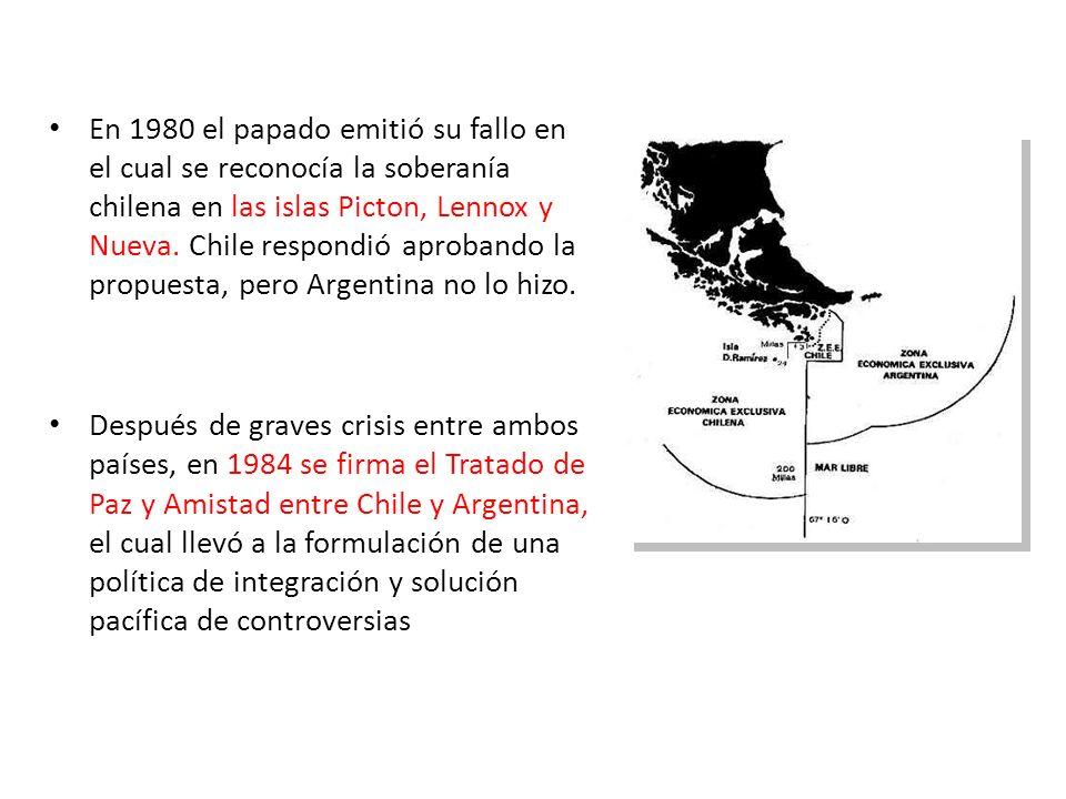 En 1980 el papado emitió su fallo en el cual se reconocía la soberanía chilena en las islas Picton, Lennox y Nueva. Chile respondió aprobando la propu