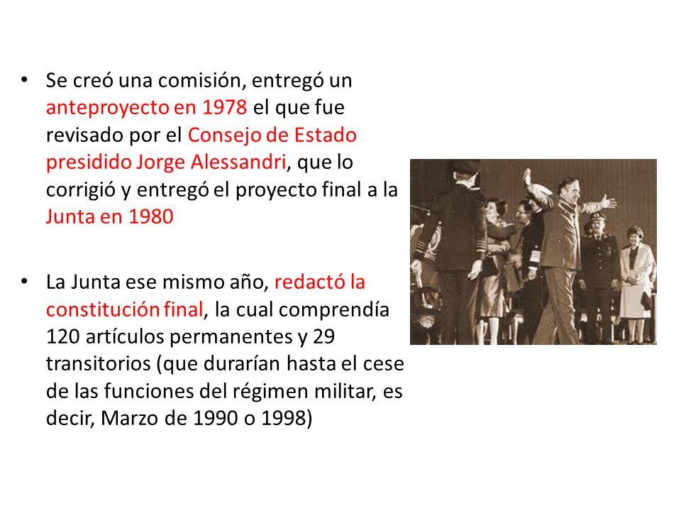 Se creó una comisión, entregó un anteproyecto en 1978 el que fue revisado por el Consejo de Estado presidido Jorge Alessandri, que lo corrigió y entre