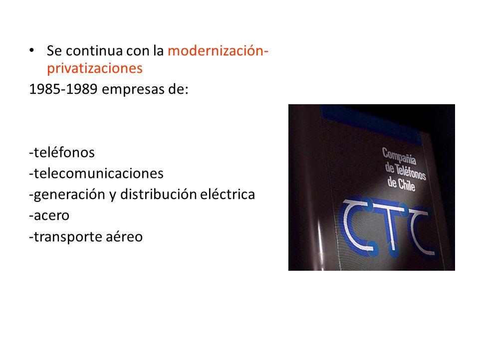 Se continua con la modernización- privatizaciones 1985-1989 empresas de: -teléfonos -telecomunicaciones -generación y distribución eléctrica -acero -t