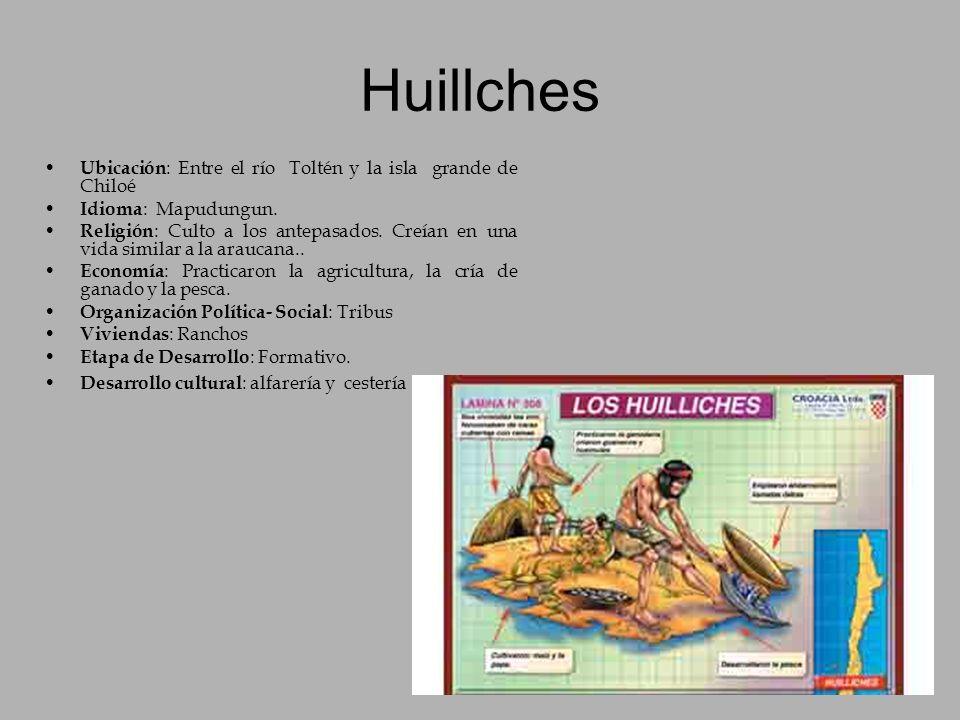 Huillches Ubicación : Entre el río Toltén y la isla grande de Chiloé Idioma : Mapudungun. Religión : Culto a los antepasados. Creían en una vida simil