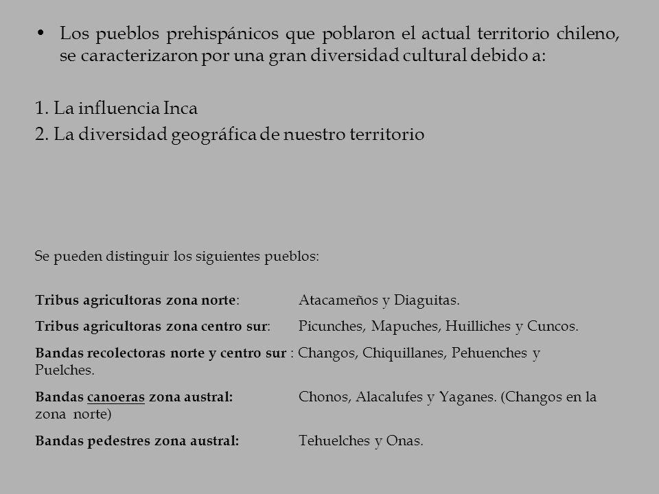 Se pueden distinguir los siguientes pueblos: Tribus agricultoras zona norte : Atacameños y Diaguitas. Tribus agricultoras zona centro sur : Picunches,