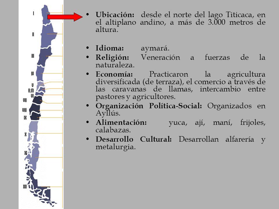 Ubicación: desde el norte del lago Titicaca, en el altiplano andino, a más de 3.000 metros de altura. Idioma: aymará. Religión: Veneración a fuerzas d