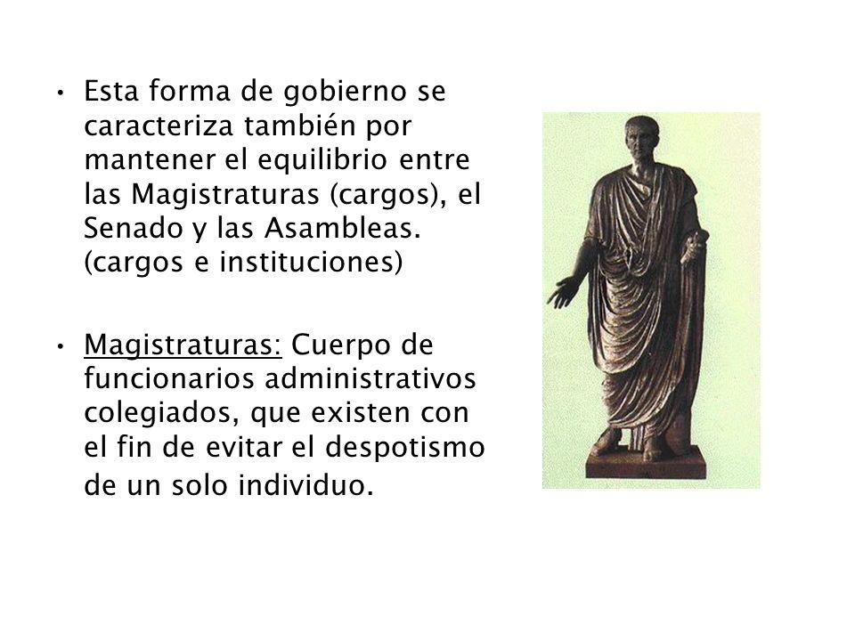 Esta forma de gobierno se caracteriza también por mantener el equilibrio entre las Magistraturas (cargos), el Senado y las Asambleas. (cargos e instit