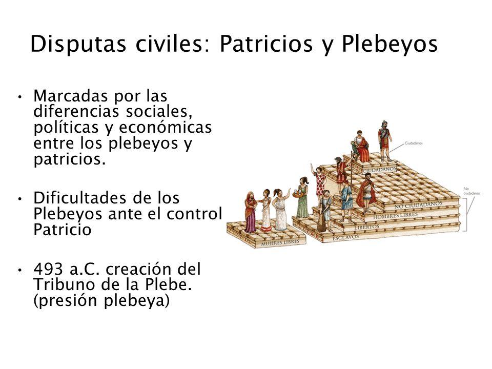 Disputas civiles: Patricios y Plebeyos Marcadas por las diferencias sociales, políticas y económicas entre los plebeyos y patricios. Dificultades de l