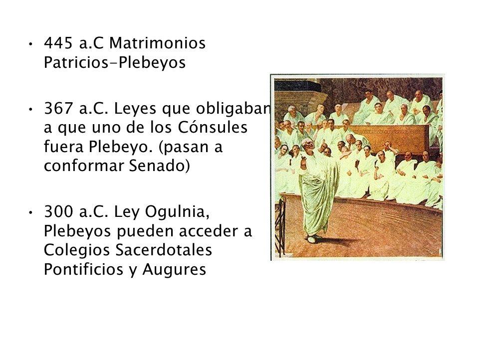 445 a.C Matrimonios Patricios-Plebeyos 367 a.C. Leyes que obligaban a que uno de los Cónsules fuera Plebeyo. (pasan a conformar Senado) 300 a.C. Ley O
