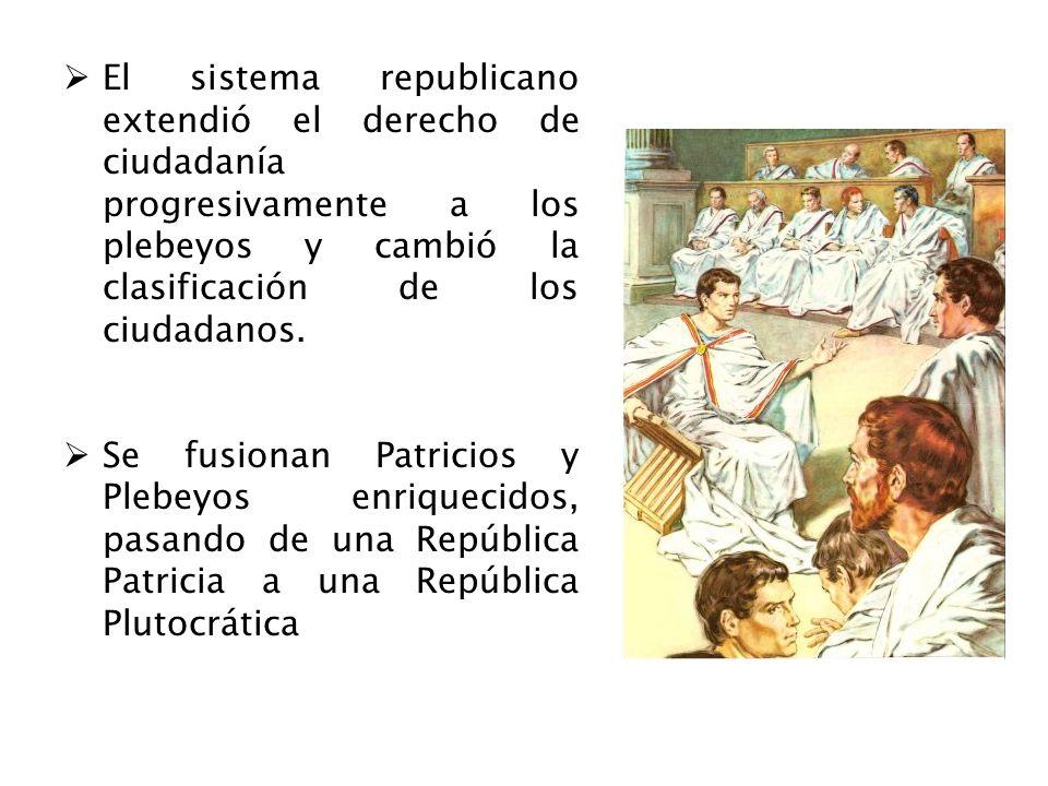 El sistema republicano extendió el derecho de ciudadanía progresivamente a los plebeyos y cambió la clasificación de los ciudadanos. Se fusionan Patri