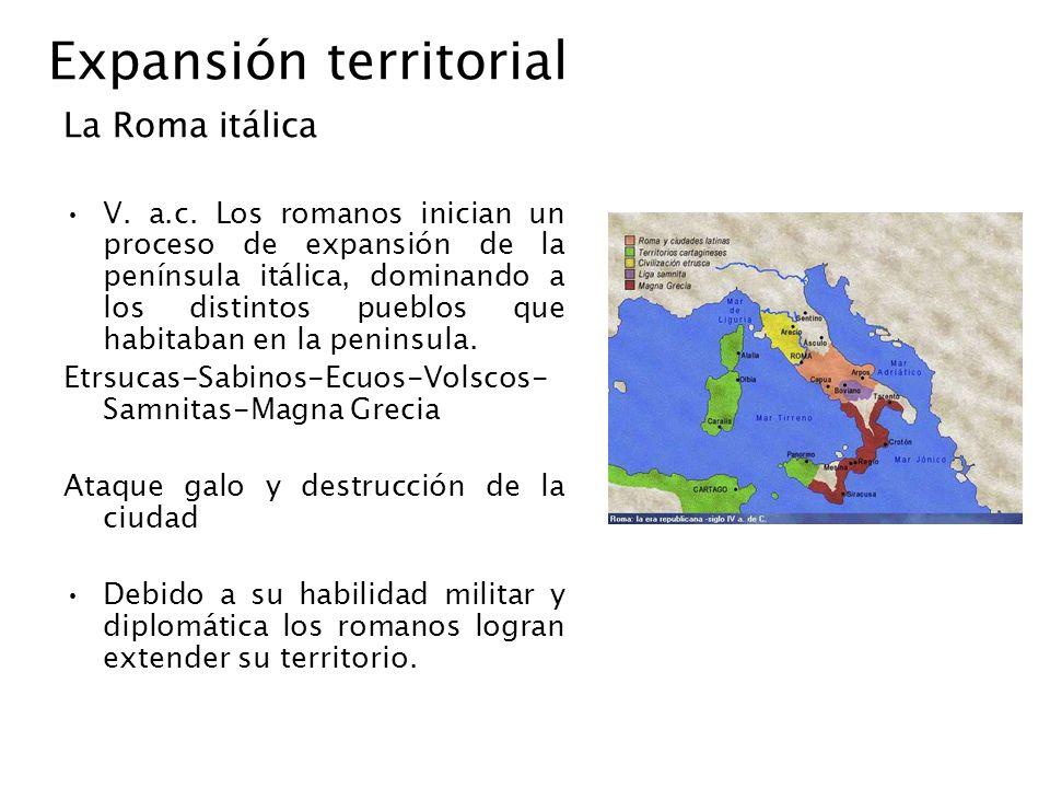 Expansión territorial La Roma itálica V. a.c. Los romanos inician un proceso de expansión de la península itálica, dominando a los distintos pueblos q