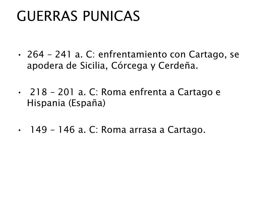 GUERRAS PUNICAS 264 – 241 a. C: enfrentamiento con Cartago, se apodera de Sicilia, Córcega y Cerdeña. 218 – 201 a. C: Roma enfrenta a Cartago e Hispan