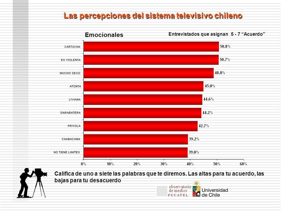 Entrevistados que asignan 5 - 7 Acuerdo Las percepciones del sistema televisivo chileno Emocionales Califica de uno a siete las palabras que te diremos.