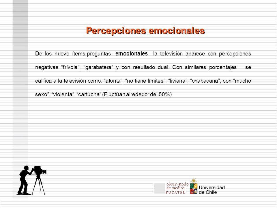 De los nueve ítems-preguntas- emocionales la televisión aparece con percepciones negativas frívola, garabatera y con resultado dual.