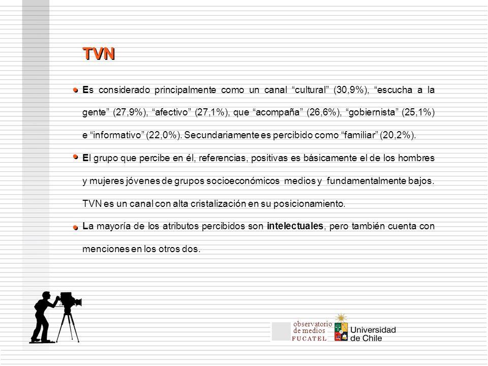 Es considerado principalmente como un canal cultural (30,9%), escucha a la gente (27,9%), afectivo (27,1%), que acompaña (26,6%), gobiernista (25,1%) e informativo (22,0%).