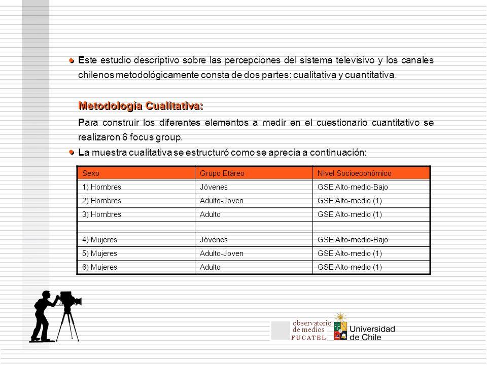 Este estudio descriptivo sobre las percepciones del sistema televisivo y los canales chilenos metodológicamente consta de dos partes: cualitativa y cuantitativa.